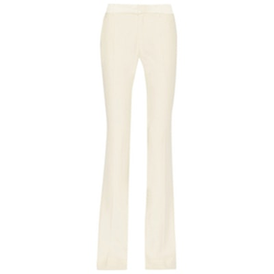 Satin-Trimmed Crepe Flared Pant