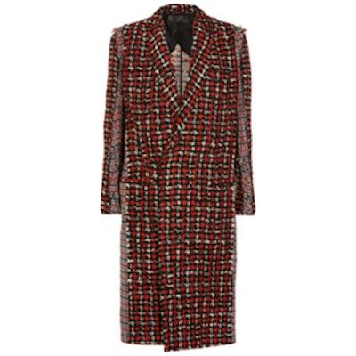 Paneled Wool Blend Tweet Coat