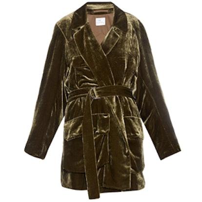 Military Belted Velvet Jacket
