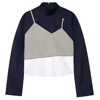 Layered Wool and Stretch-Cotton Poplin Top