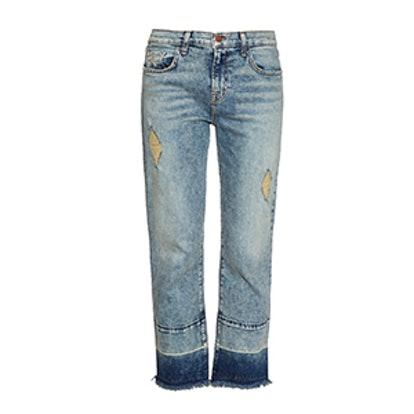 Adele Distressed Cropped Kick Flare Jeans