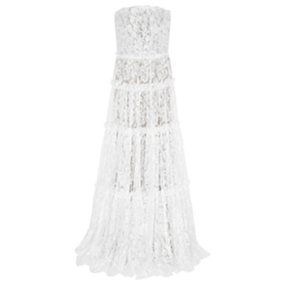 Strapless Tiered Lace Gown