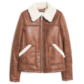 Faux Shearling Applique Jacket