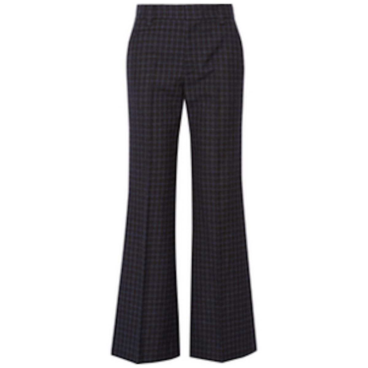Checked Wool Wide-Leg Pants