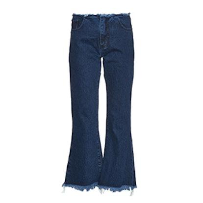 Capri Frayed Edge Flared Jeans