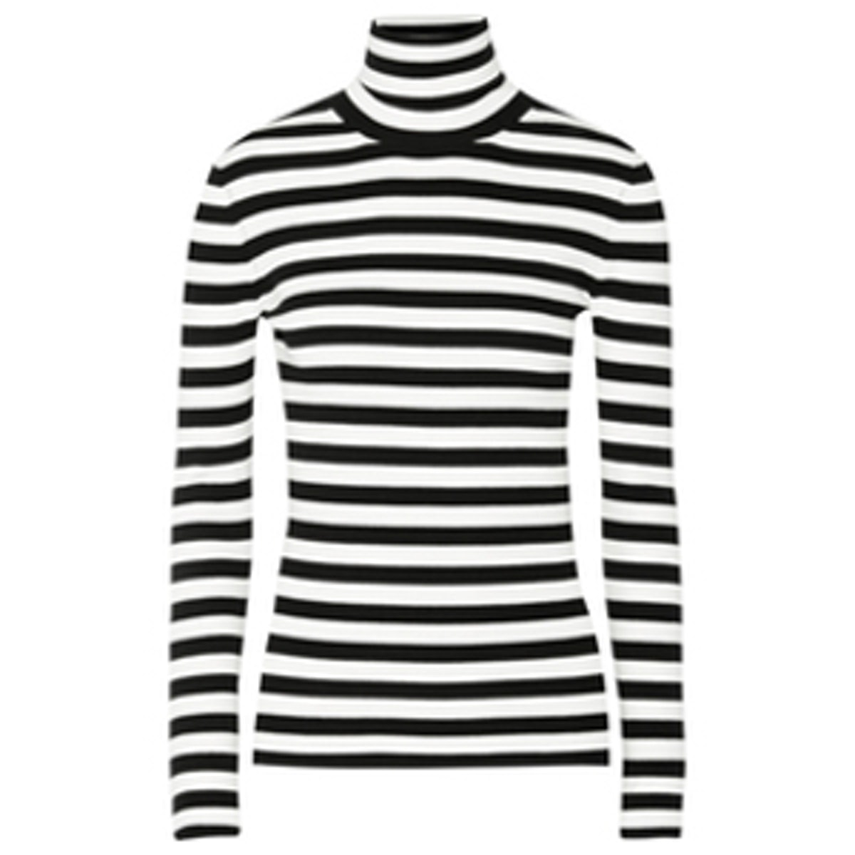 Striped Ribbed-Knit Turtleneck Sweater