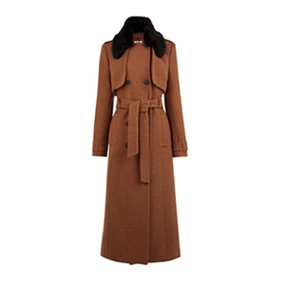 Faux Fur-Trimmed Trench