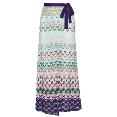 Wrap-Effect Crochet Maxi Skirt
