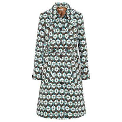 Printed Wool-Crepe Coat