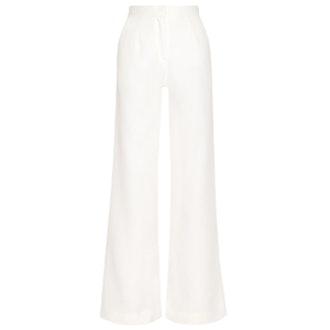 Wool-Piqué Wide-Leg Pants