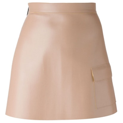 Patch Pocket Faux Leather Skirt