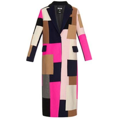 Patchwork Wool-Blend Coat