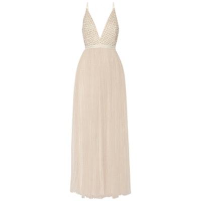 Embellished Chiffon And Tulle Maxi Dress