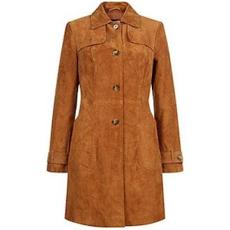 Tan Premium Suede Trench Coat