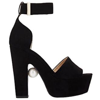 Pearl-Detail Platform Sandals
