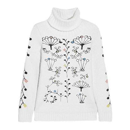 Berry Intarsia Angora-Blend Turtleneck Sweater