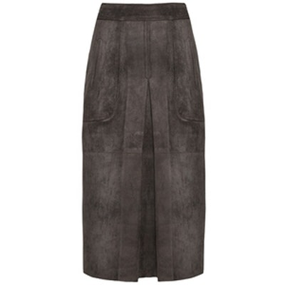 Suede Kick Pleat Midi