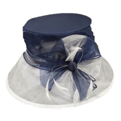 White and Navy Organza Hat