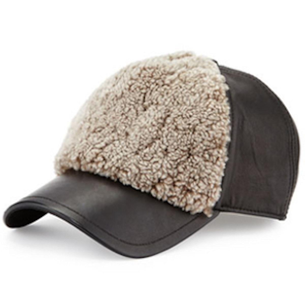 Marilyn Leather & Shearling Fur Baseball Cap