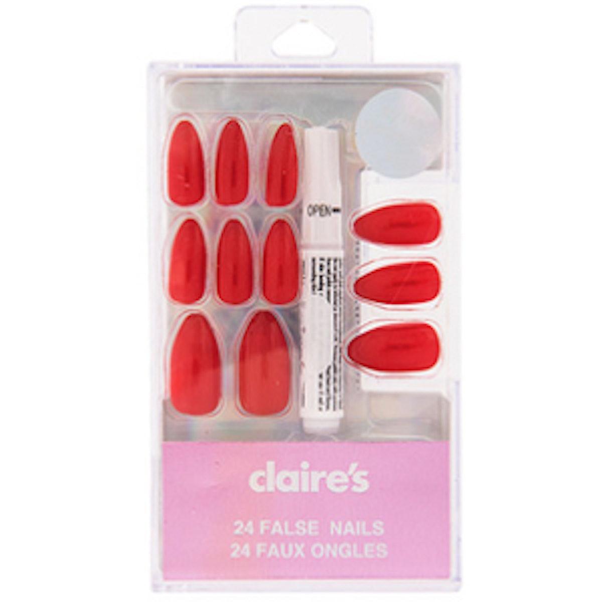 Red Stiletto False Nails