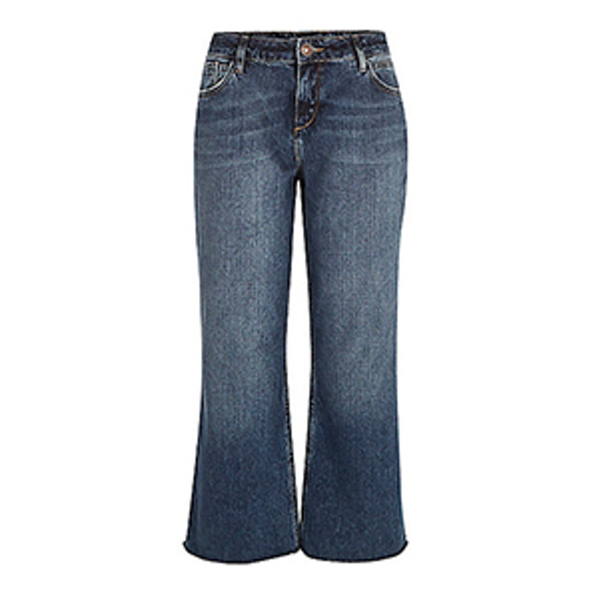 Mid Wash Cropped Kick Flare Jeans
