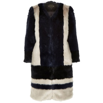 Navy Glam Faux Fur Coat