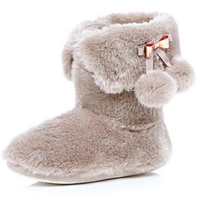 Fluffy Pom Pom Boot Slippers