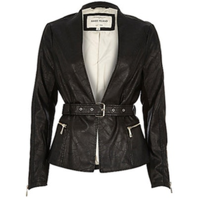Leather-Look Belted Jacket