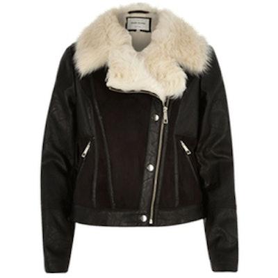 Black Leather-Look Panel Biker Jacket