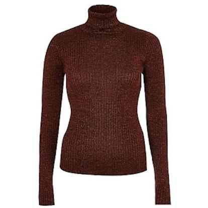 Dark Orange Sparkly Turtleneck Sweater