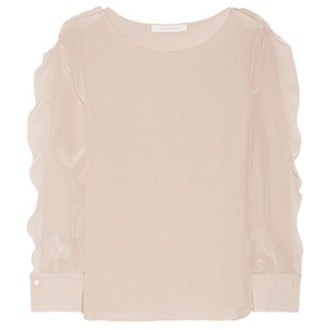 Ruffle-Trimmed Crepe Blouse