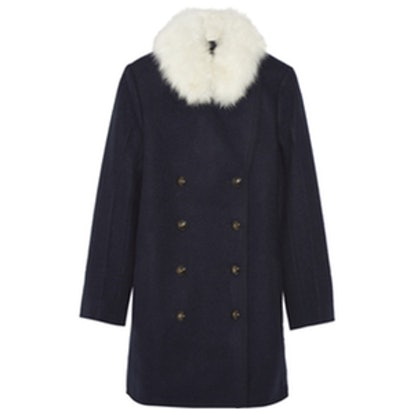 Shearling-Trimmed Wool Coat
