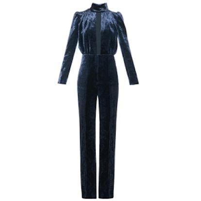 Safety-Pin Velvet Jumpsuit
