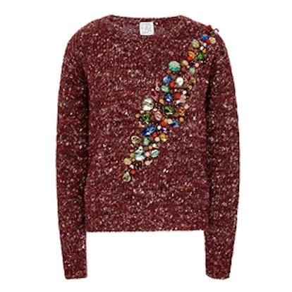 Wool Alpaca And Silk Jeweled Sweater
