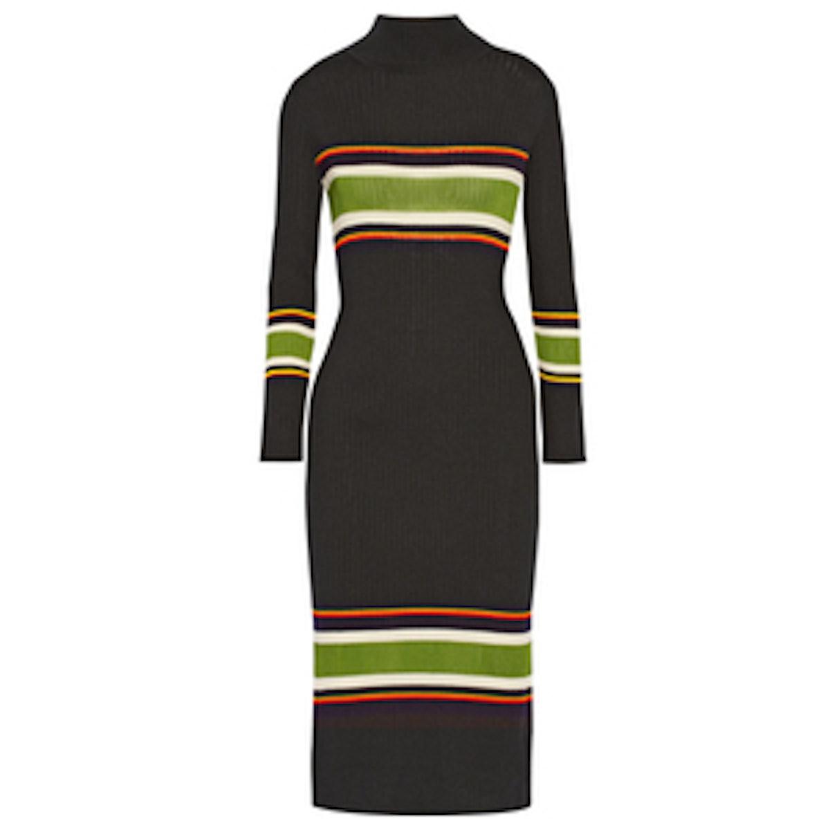 Striped Wool Turtleneck Dress