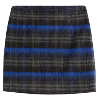 Wool Mohair Plaid Mini Skirt