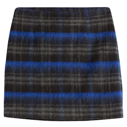 Wool Mohair Plaid Mini Skirt