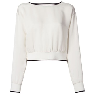 Contrast Trim Cropped Sweater