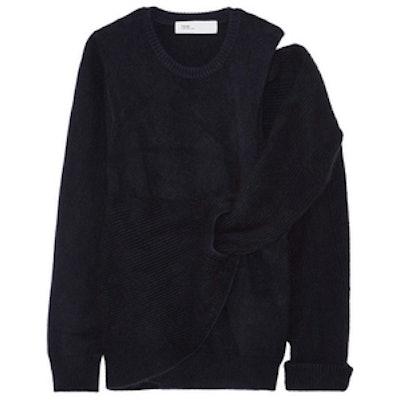 Cutout Draped Wool Sweater