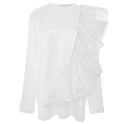 White Long Sleeve Shirt With Ruffle