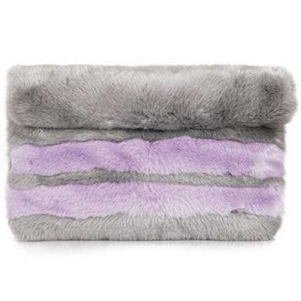 Faux Fur Striped Clutch