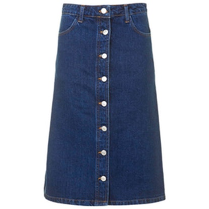 Denim Button-Front Midi Skirt