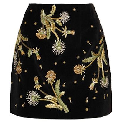 Embellished Cotton-Velvet Mini Skirt