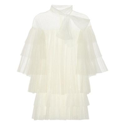 Tiered Point D'esprit Mini Dress
