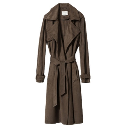 Suede Effect Trench Coat