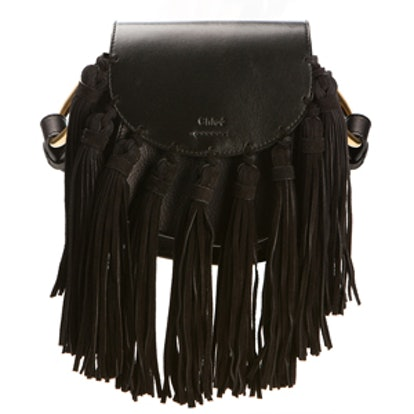 Hudson Mini Black Leather Tasseled Bag