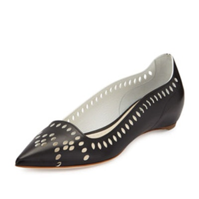 Laser-Cut Leather Point-Toe Flat