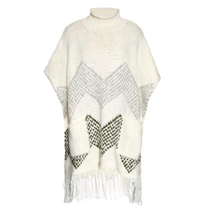 Oversized Fringed-Hem Knit Poncho