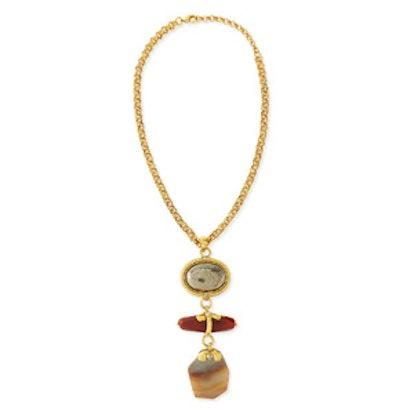 Chunky Multi-Stone Pendant Necklace