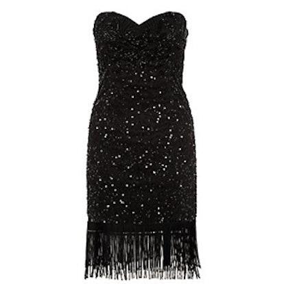 Black Embellished Fringe Hem Dress
